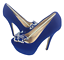 thumbnail 3 - Womens Ladies Blue Faux Suede Platform High Heel Party Court Shoes Size UK 3 New