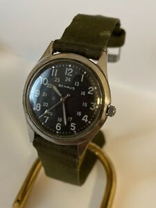 RARE-Benrus-Vietnam-Era-Military-Watch-Working-Bullitt-Hack-Cassa-Monoblocco