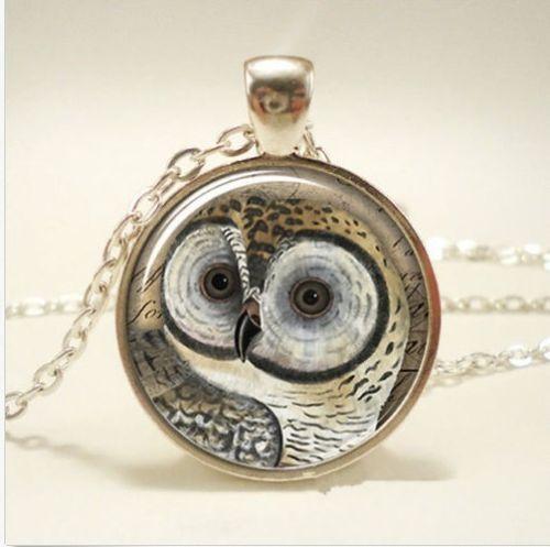 Vintage OWL Cabochon Tibetan silver Glass Chain Pendant Necklace New