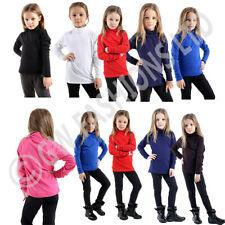 GIRLS BOYS KIDS POLO HIGH NECK TOPS LONG SLEEVE PLAIN BASIC ROLL JUMPER SHIRT