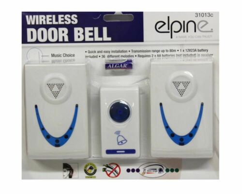 Twin Set 36 Melodies Chimes Wireless Cordless Double Door Bell 80m Range No Plug