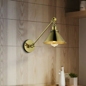 Industrial-Vintage-Swing-Arm-Wall-Light-Brass-Finish-Lamp-Adjustable-Wall-Sconce