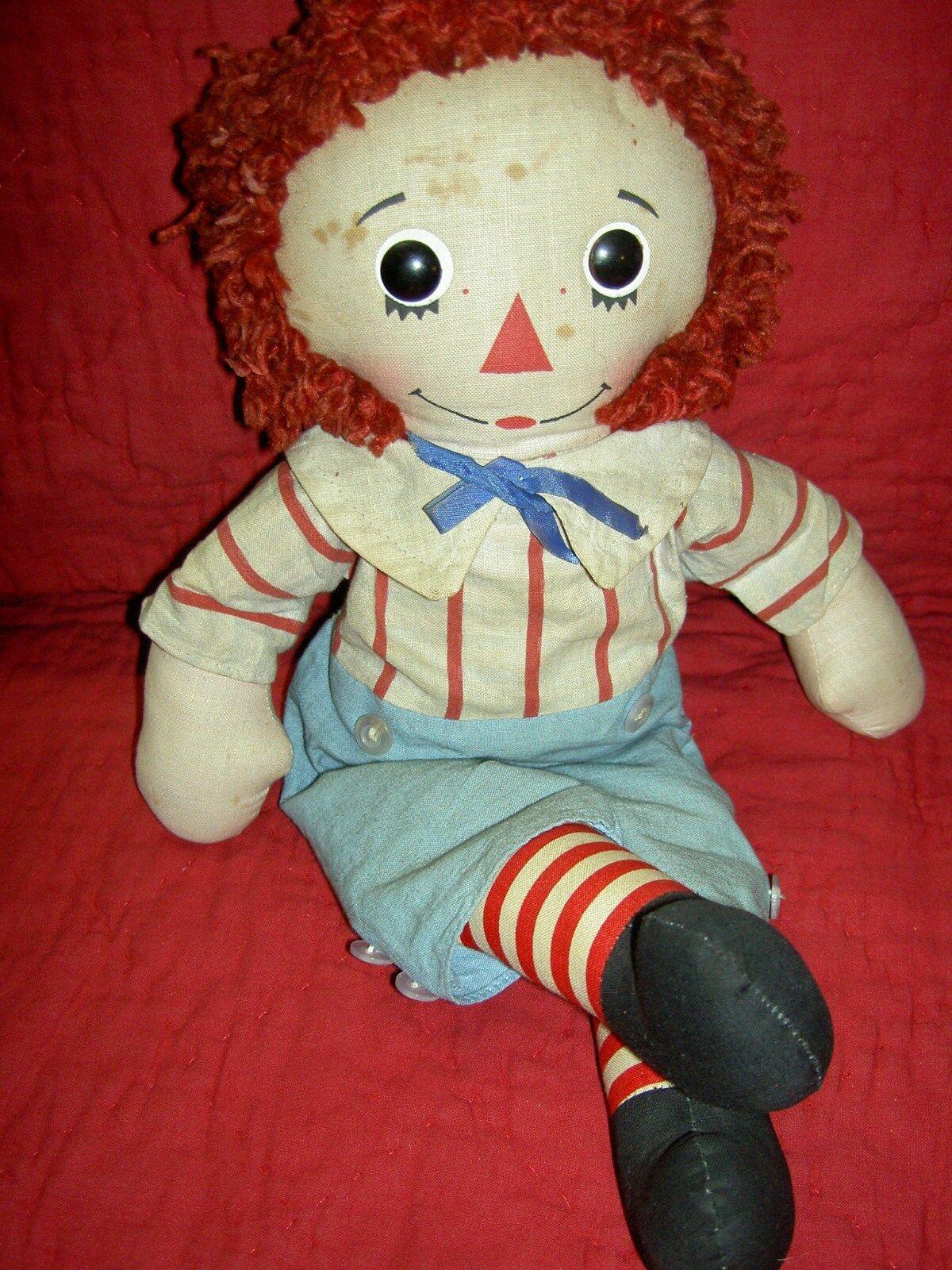 15  largo, Vintage 1976 Paño  Raggedy Andy  (Etiqueta) LIMITED muñeca Knickerbocker