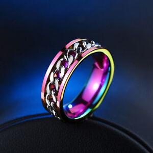 Anillos-Colorido-cadena-titanio-banda-anillo-giratorio-hilandero-dos-joyas