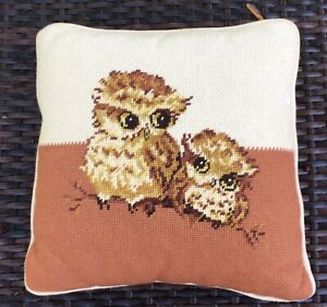 Vintage-OWLs-Needlepoint-Pillow-12-X-12-1970s-Brown-Orange-Velvet-Back