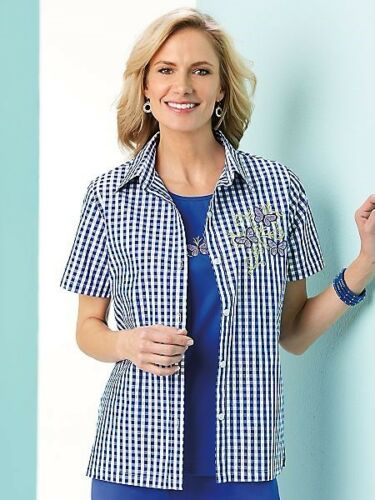 New Haband Womens Size 2X Blue White Check Embroidered Butterfly Twin Shirt Set