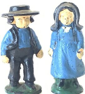 Antique-Solid-Cast-Iron-Painted-Amish-Farmer-Miniature-Figures-Set-Of-2