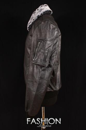 Men/'s B52 BOMBER Black Skipper Harrington FUR COLLAR Leather Aviator Jacket