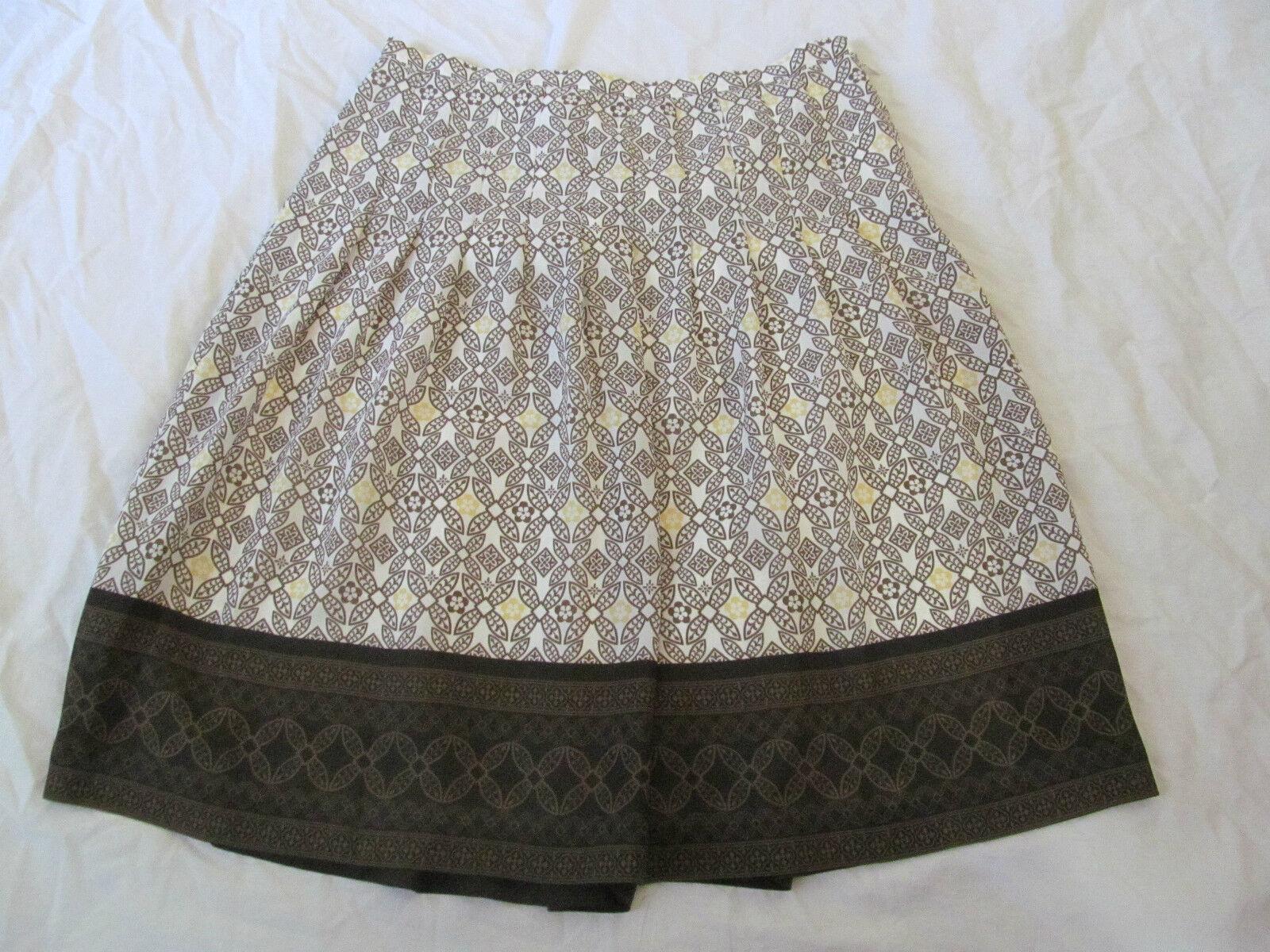 cfbc0310cefcb Women's Ann Taylor Loft Petites Paisley White & Brown Skirt Size 4P ...
