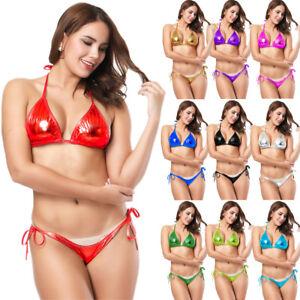 22551920dc914 Women Sexy Swimsuit PVC Wet Look Bikini Set Bra+Briefs Lingerie ...