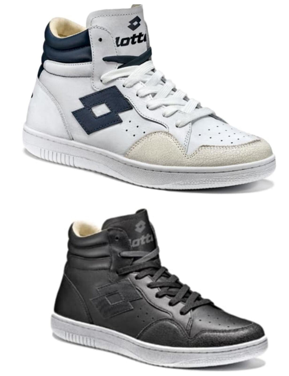 Scarpe Lotto leggenda Icon bianco nero pelle alte S9985 uomo scarpe da ginnastica