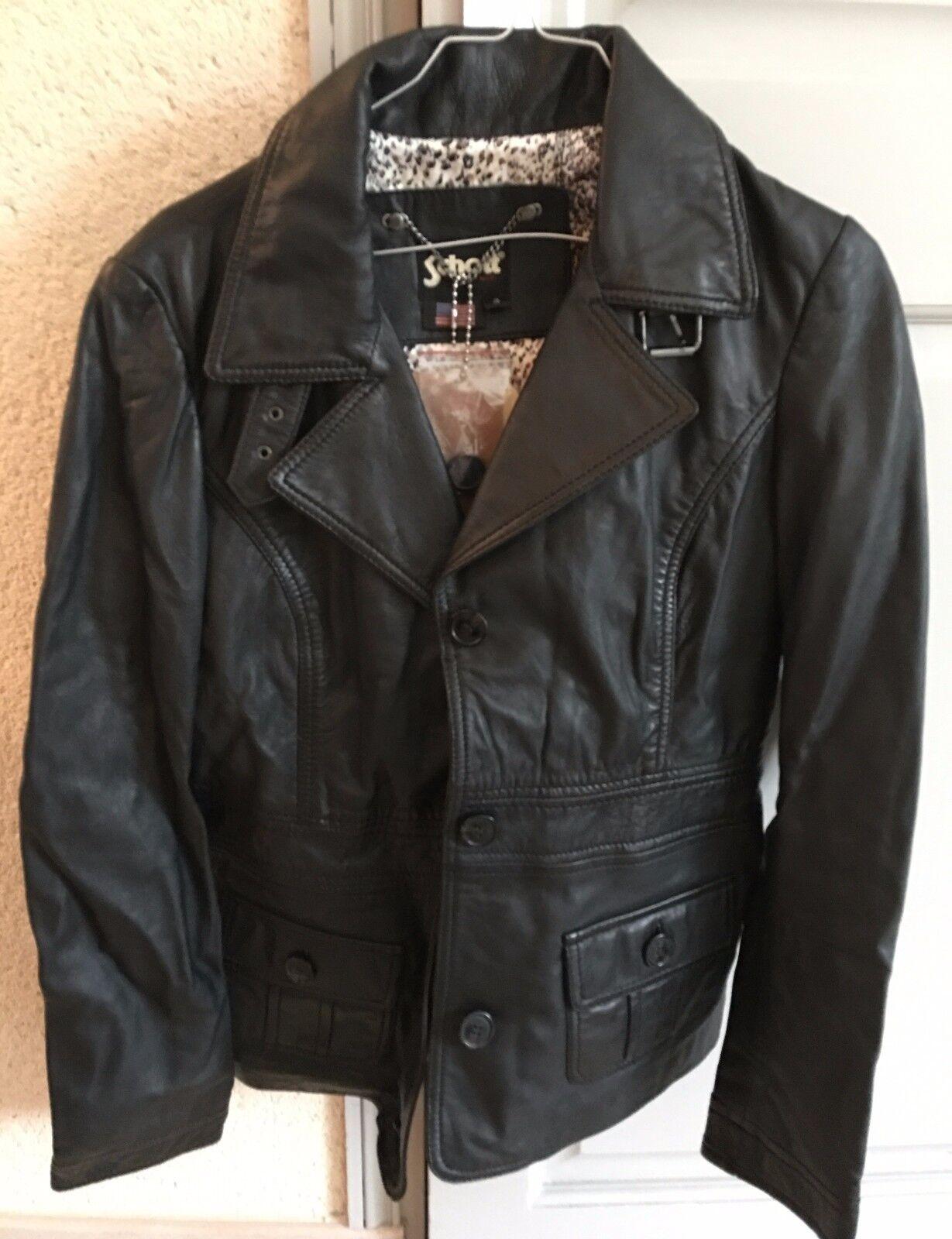 Veste Femme cuir black Schott Modèle Neuve avec étiquettes size S Exp gratuite