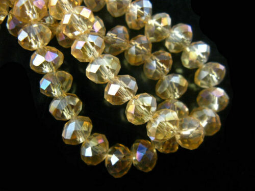 Pretty 6mm 100ps Faceted Glass Crystal Rondelle Beads Necklace/&Bracelet Findings