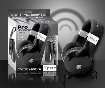 MENTAL BEATS PRO HEADPHONES 2010 BLACK #61858 XPERT WITH MIC EXTRA BASS NIB