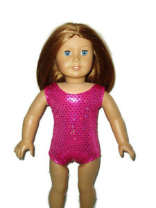 Hot-Pink-Sequin-Leotard-Fits-American-girl-dolls-18-inch-Doll-Clothes-Swimsuit