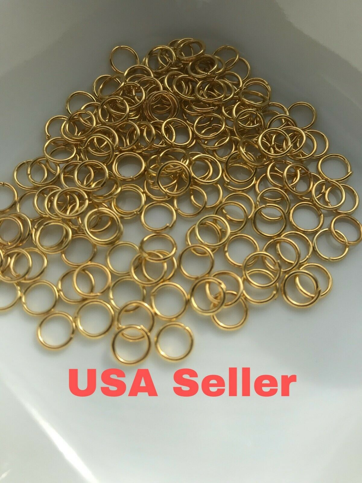 10 x 9ct White Gold 5mm Jump Rings Jewellery Making