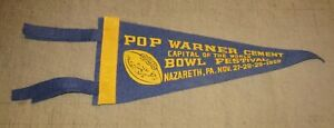 "1959 POP WARNER BOWL FESTIVAL Nazareth, PA 11"" 4-Tassel Blue Pennant FOOTBALL"