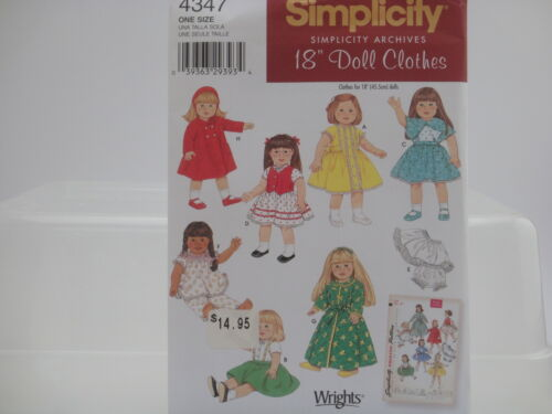 """Simplicity Archives One Size 18/"""" Doll Clothes Simplicity Pattern 4347"""