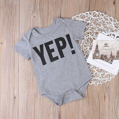 Newborn Infant Baby Boy Letter Clothes Outfits Jumpsuit Romper Kids Tops T-shirt