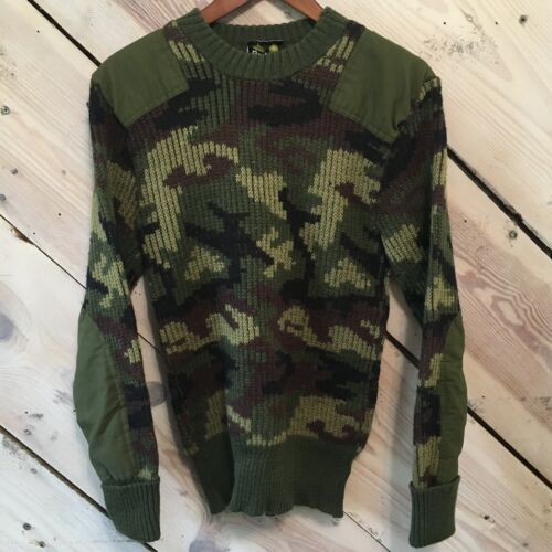 Vintage Barbour Green Wool Camo Knit Pullover Prot
