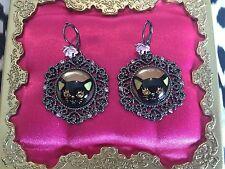 Betsey Johnson Vintage Pewter Vicki Victorian Black Cat Cameo Pink Rose Earrings