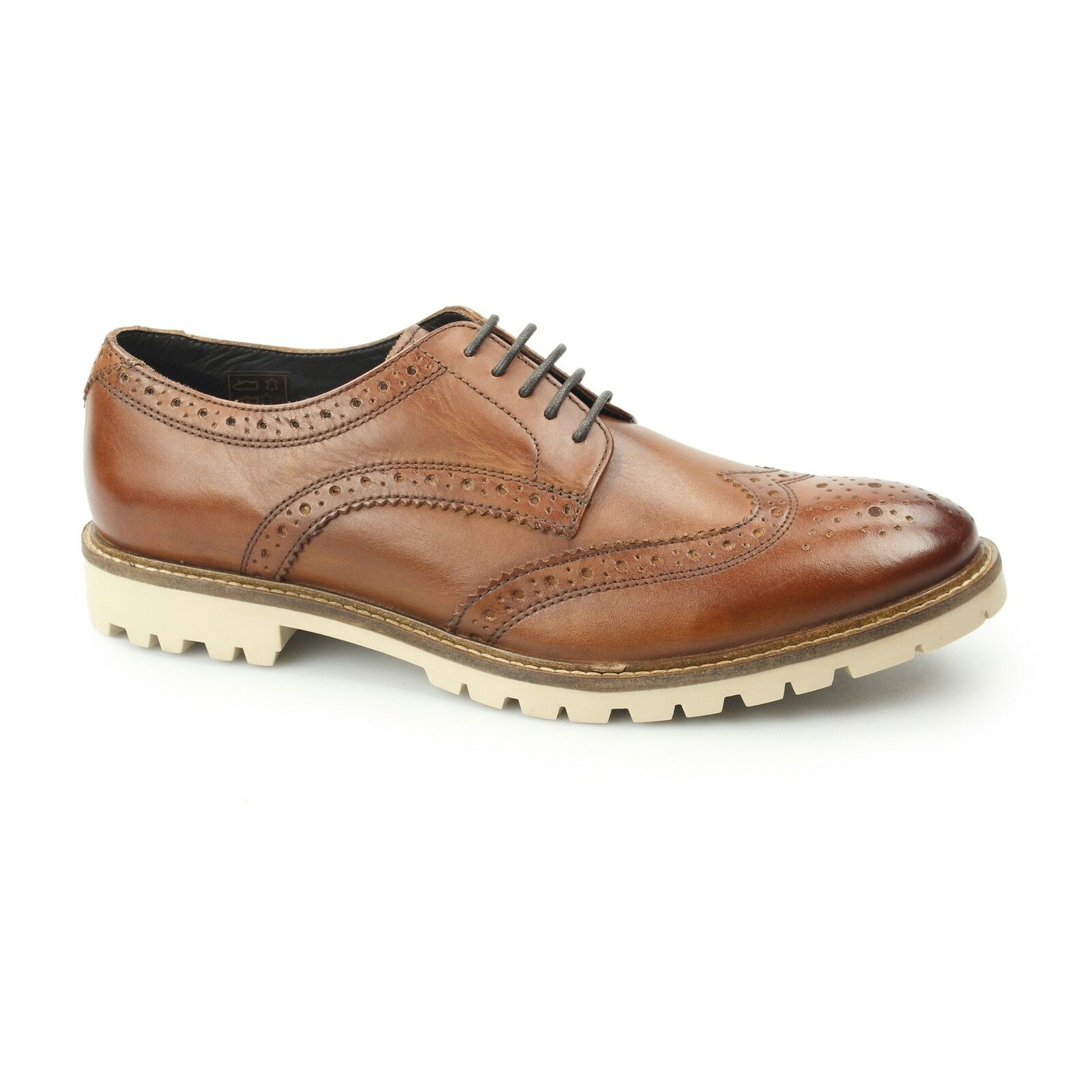 Base London RAID Da Uomo Formali Eleganti LAVATO in pelle Scarpe Derby CALATA Marrone Tan