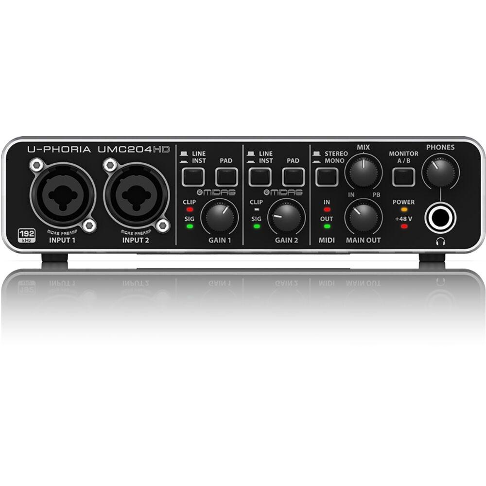 Behringer U-Phoria UMC204HD UMC204HD UMC204HD 2-in 4-out USB 2.0 Interfaz De Audio Con Preamplificadores De Midas  conveniente