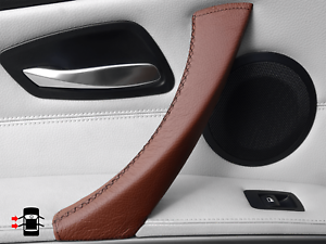 For BMW E90 E91 2004-2012 Door Handle Left Pull Trim Cover Brown 100% Leather UK