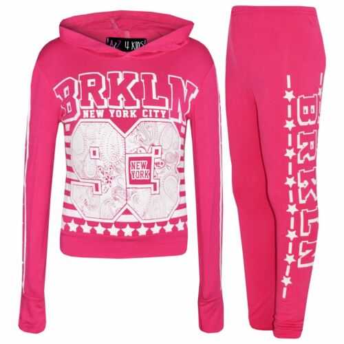 Kids Girls Brooklyn 93 Hooded Crop Top T Shirt Legging Lounge Wear Set 7-13 Year