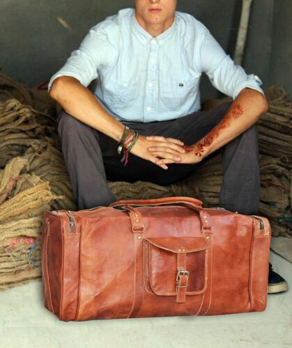 """Goat Leather Men Gym Bag Travel Luggage Genuine Vintage Brown Duffle New S 30/"""""""