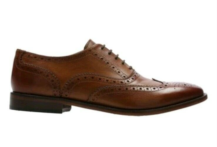 Clarks Mens Chirm Ride Tan Brown Leather Brogue Smart Casual Shoes, UK 11