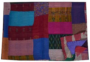 KANTHA-QUILT-SILK-HANDMADE-PATCHWORK-IKAT-QUILTS-BLANKET-THROW-GUDARI-TWIN-SIZE