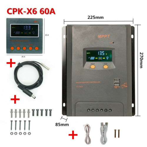 20//40//60//80A MPPT LCD Solar Panel Battery Charge Controller 12//24V+Module MP15 Z
