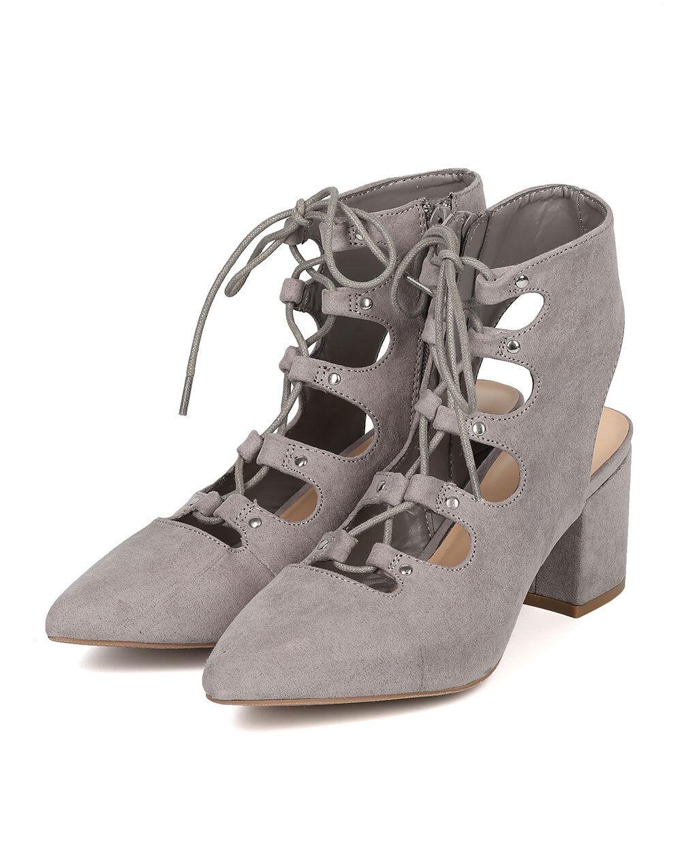 New Women Wild Diva Peta-02 Faux Suede Pointy Toe Lace Up Low Block Heel Bootie