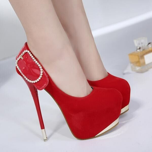 Court shoes winter closed red stiletto heel plateau 16 cm like leather 8068