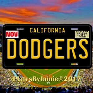 Dodgers Novelty License Plate with Black Background