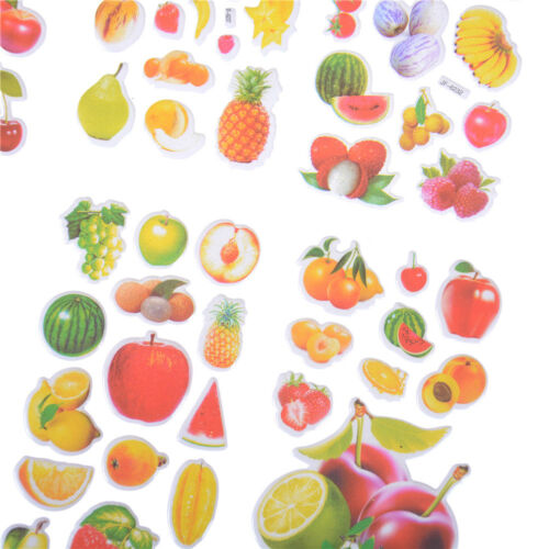 6 Sheets Fruits Scrapbooking Bubble Stickers 3D Cartoon Stationery Stickers NA