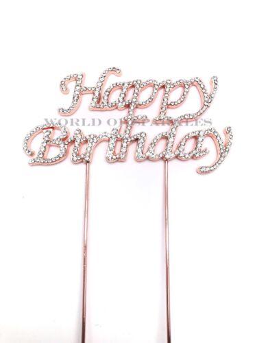 Neuf or Rose Strass Birthday Cake Topper Pick avec Strass Gem