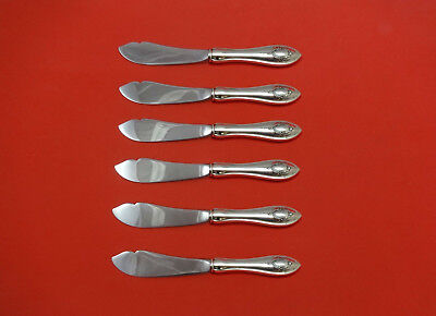 """Independent Mount Vernon By Lunt Sterling Silver Trout Knife Set 6pc Hhws Custom 7 1/2"""" Other Antique Furniture"""
