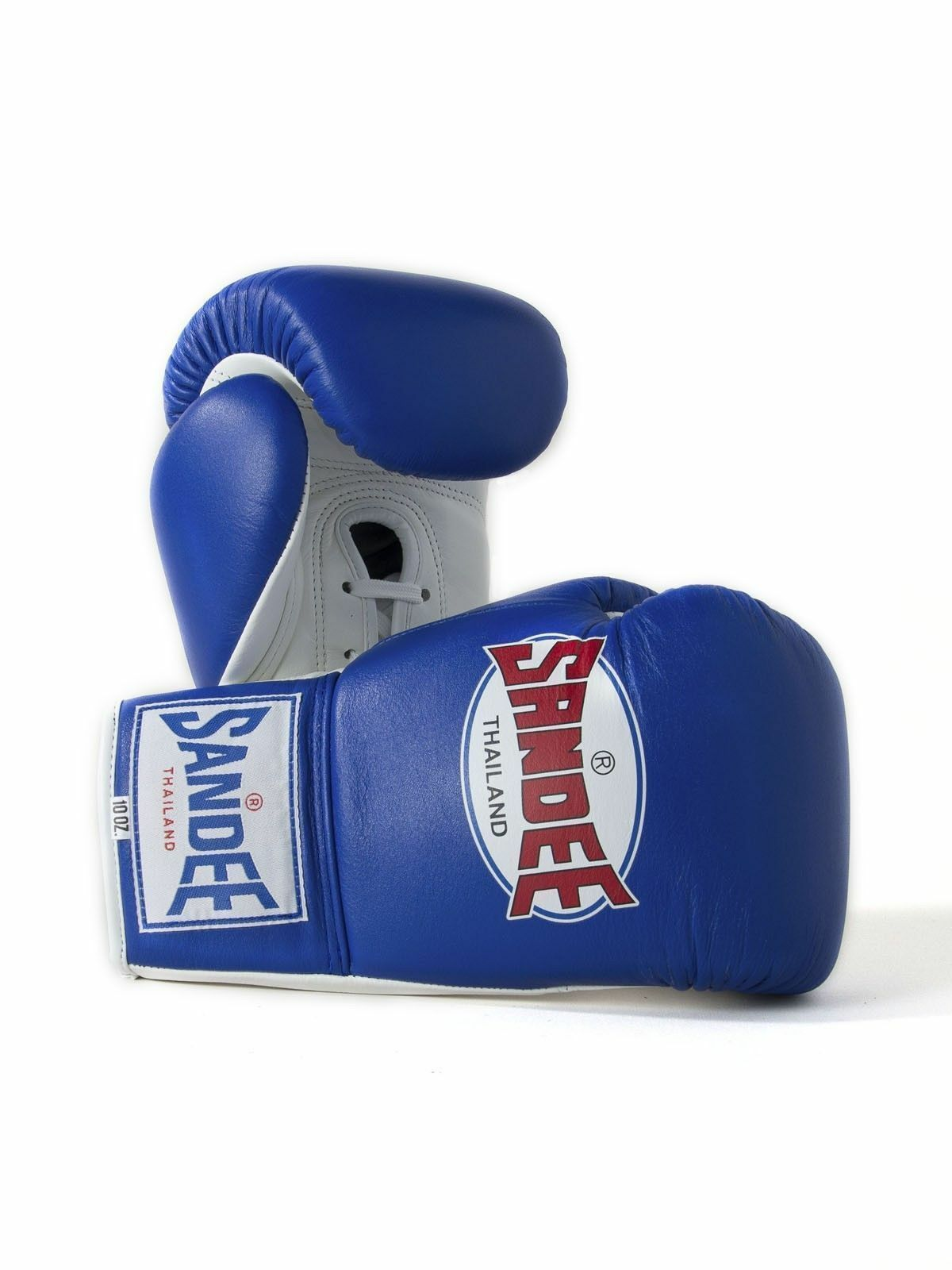 Sandee Lace Up Pro Fight Blau & Weiß Leder Muay Thai Boxing Gloves