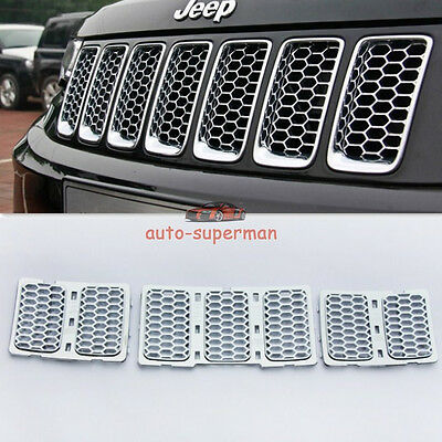 Chrome Front Mesh Grille honeycomb Insert trim kit Jeep Grand Cherokee 2014-2016