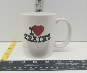Vintage I ❤ Trains Coffee Cup Mug White Mint