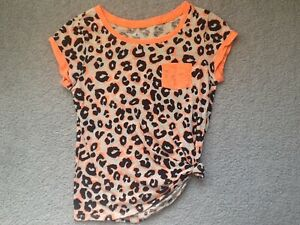 Girl's Justice Black/Orange Print Top Size 12