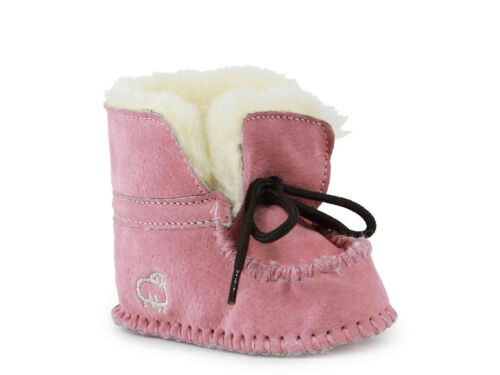 Lamo Infant Girls'  Baby Moc PINK Bootie Soft Wool Lining.