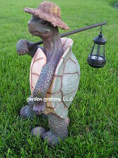 GARDEN STATUE TURTLE WITH SOLAR LANTERN, TURTLE WITH SOLAR LIGHT FIGURINE
