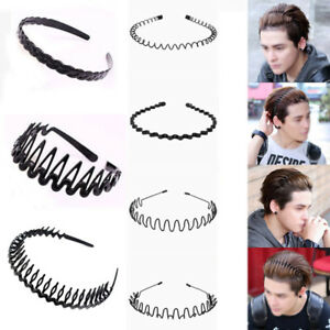 1PC Unisex Men s Women Sports Wave Hair Band Plastic Black Hairband ... 810a08f0ebc