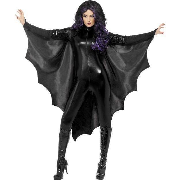 Black Bat Dress /& LACE WINGS Cape Halloween Ladies Fancy Dress Costume