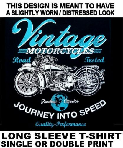 VINTAGE ANTIQUE MOTORCYCLE CLASSIC SPEED PERFORMANCE BIKER SKULL T-SHIRT WS590