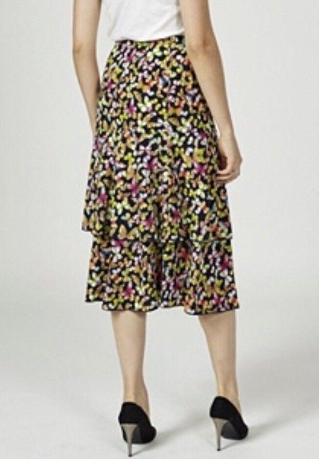 11Kim & Co Butterflies Print Brazil Knit Double Frill Skirt Size Medium