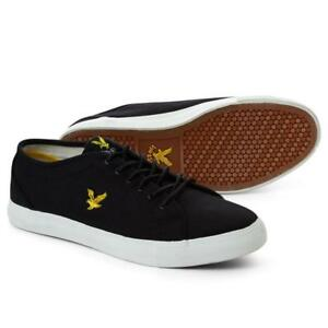 6e40d1a8cc9c Lyle   Scott Teviot Canvas Trainers True Black FW210 White Ship ...
